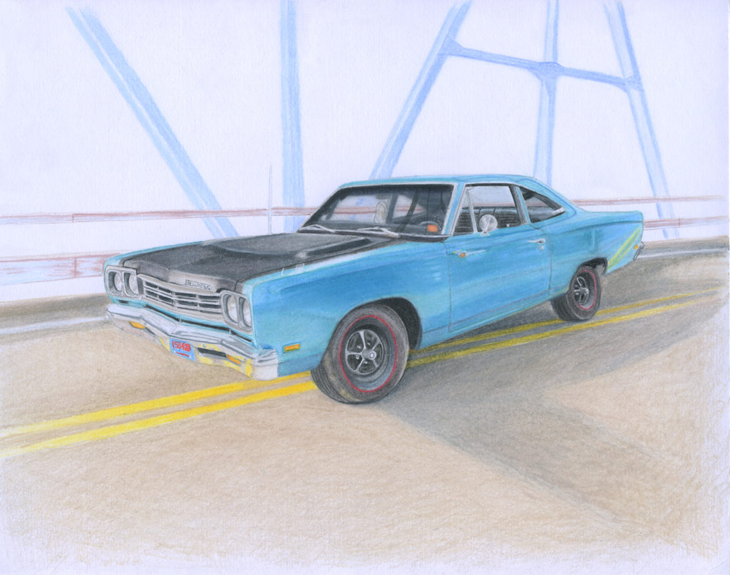 Finished scanned picture of the roadrunner illustration