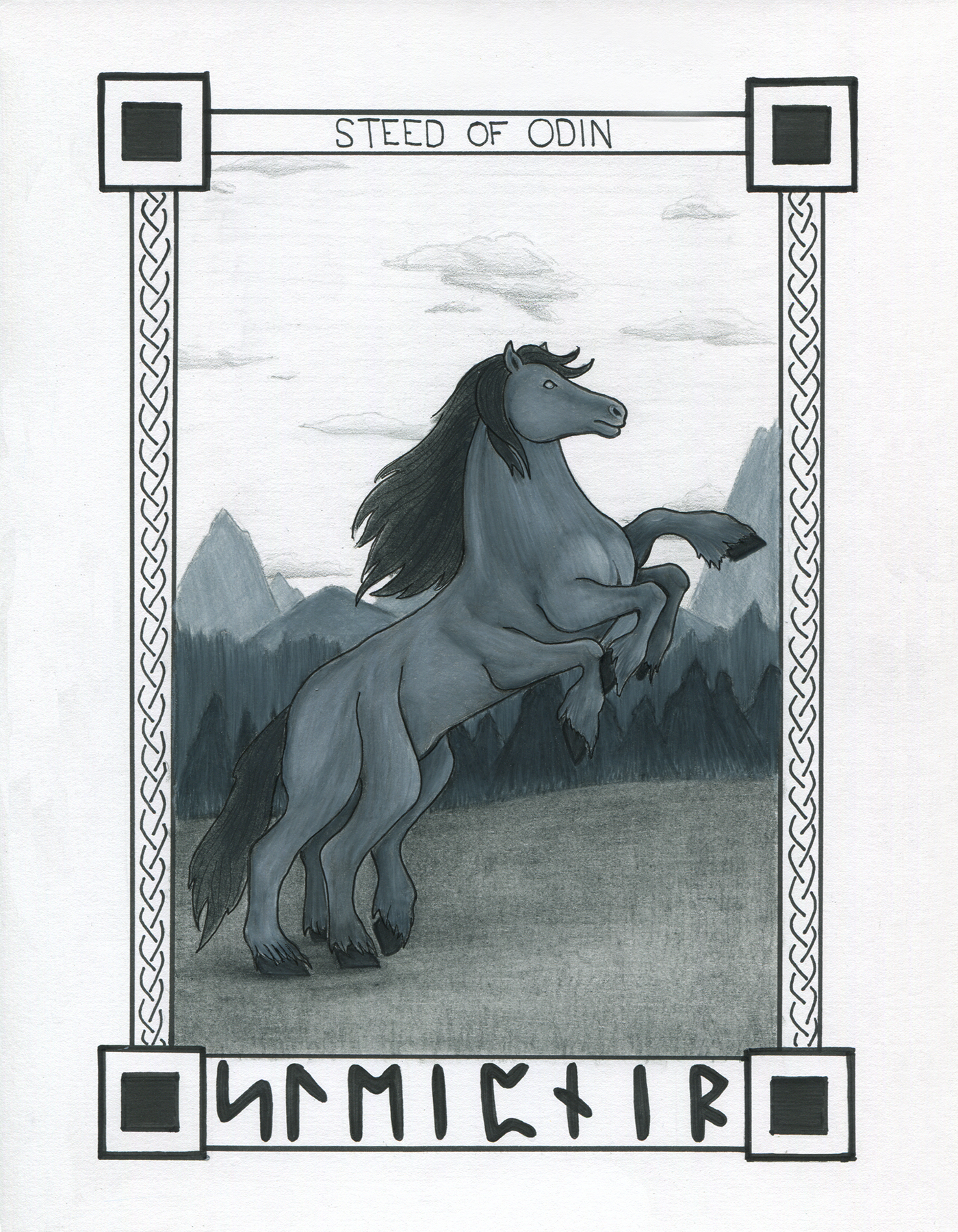 A scanned image of the Sleipnir illustration